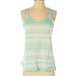 Brooks Green & White Striped Tank Top Size Small